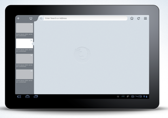 A mockup of the new Firefox tablet user interface.