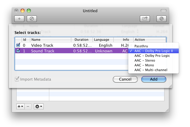 Subler's audio pass through and conversion options