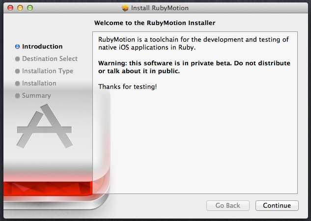 Installing the RubyMotion beta