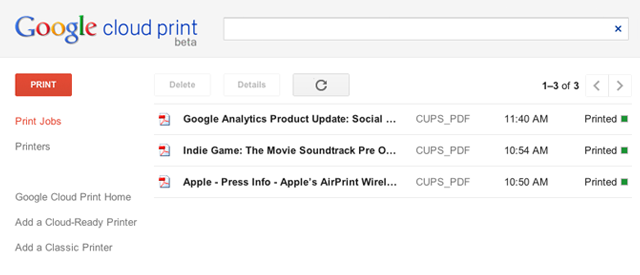 Google Cloud Print's web-based queue. Everything printed successfully.