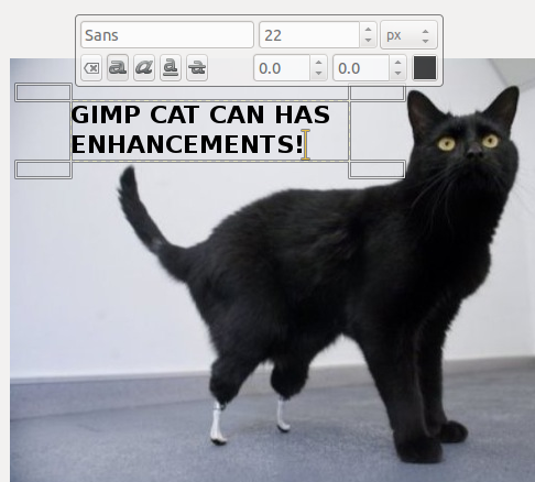 The GIMP's new on-canvas text editor