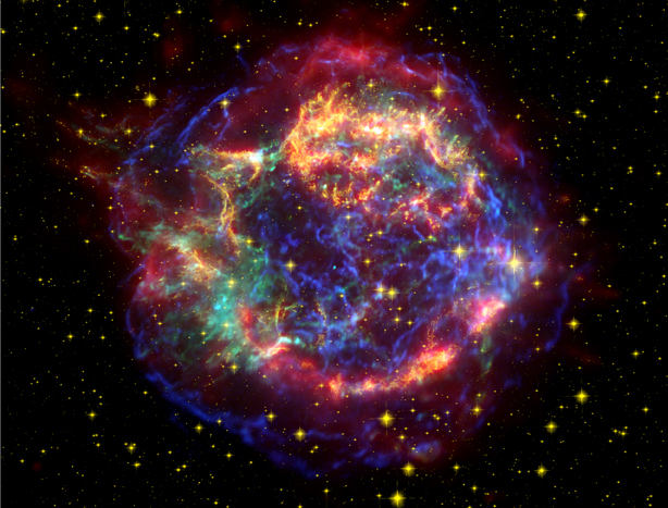 Getting the big picture -- three of the Great Observatories worked together in producing this stunning image of Cassiopeia A.  This composite image combines the infrared data from Spitzer in red, visible wavelength data from Hubble in yellow, and X-ray data from Chandra in green and blue.  Credit: X-ray: NASA/CXC/SAO; Optical: NASA/STScI; Infrared: NASA/JPL-Caltech