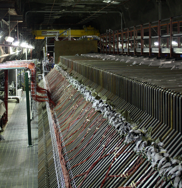 If a detector only has a small chance of seeing neutrinos, there's a simple solution: build lots of detectors.  The spot that this is taken from is just off the center of the neutrino beam line.