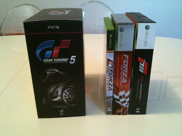 Even though three installments of <em>Forza</em> came out in the intervening six years, the <em>GT5</em> box is still bigger.