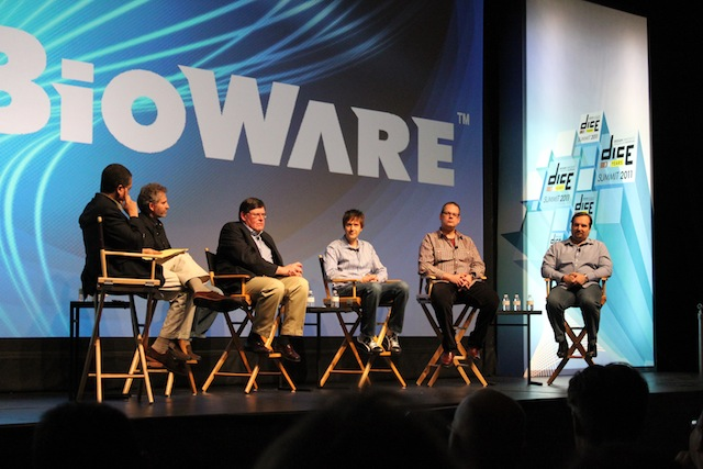 Left to Right: Seth Schiesel of the <i>New York Times</i>, Blizzard's Mike Morhaime, Bruce Shelly of Zynga, Merk Cerny of Cerny Games, Drs. Ray Muzyka and Greg Zeschuk of Bioware