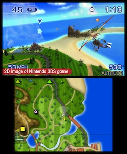Pilotwings benefits from 3D, but it's hard on the eyes when maximized