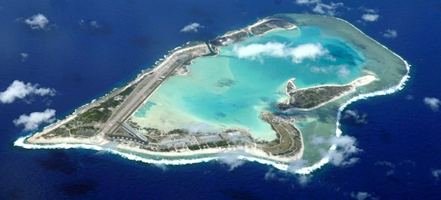 An aerial view of the real Wake Island, taken in 2009