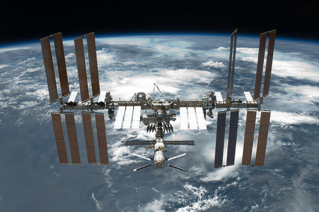 The International Space Station as seen from the orbiter Endeavour