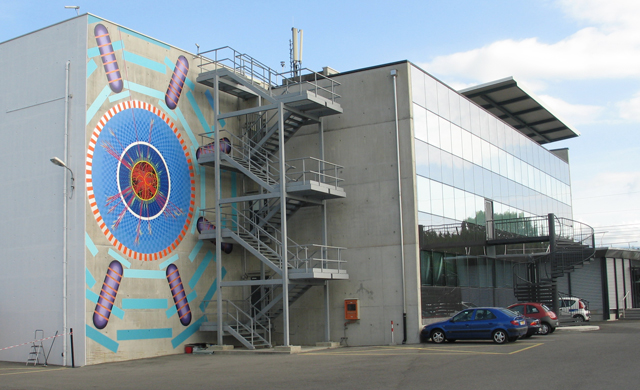 The exterior of the ATLAS detector control building..