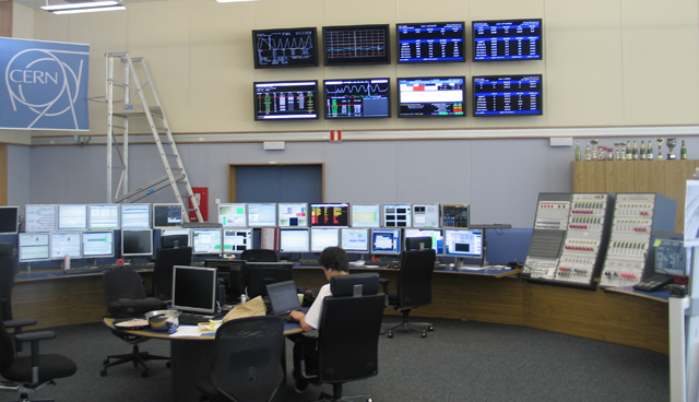 A bit of custom hardware appears at the right of this photo; most of the visible hardware is all standard PC equipment.