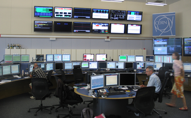 Even in a down period, there's plenty of activity in the LHC control room..