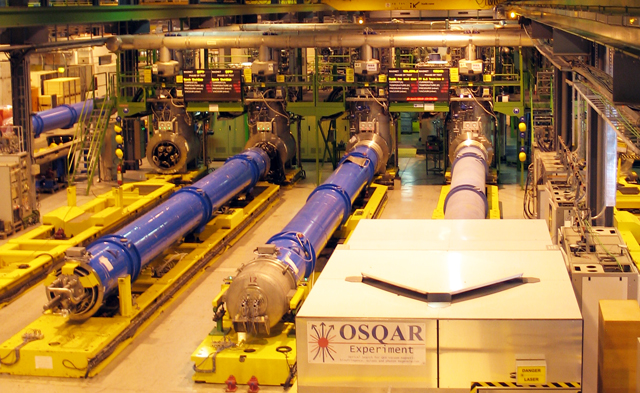 Magnets (blue tubes) at rest in the testing facility.