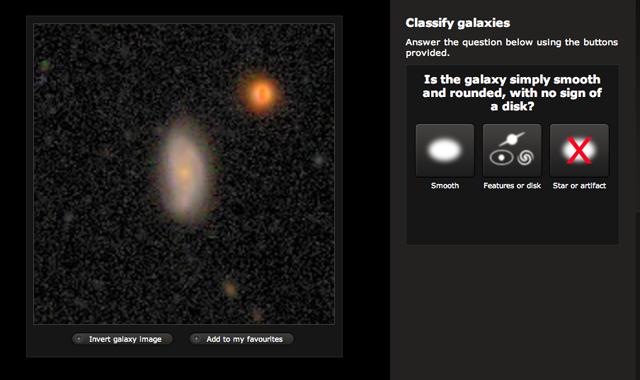 The Galaxy Zoo interface.