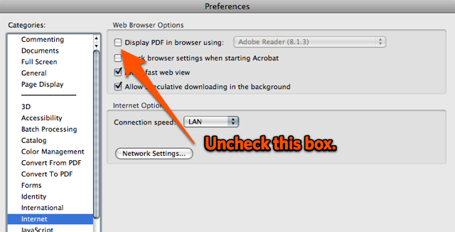 Acrobat Pro 9 Preferences on Mac OS X