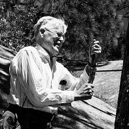 A.E. Douglass himself, coring a tree.