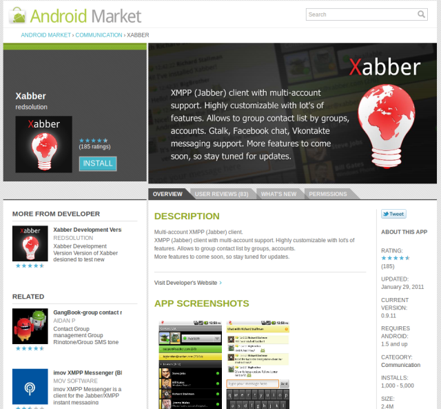 The profile page for the excellent Xabber XMPP client
