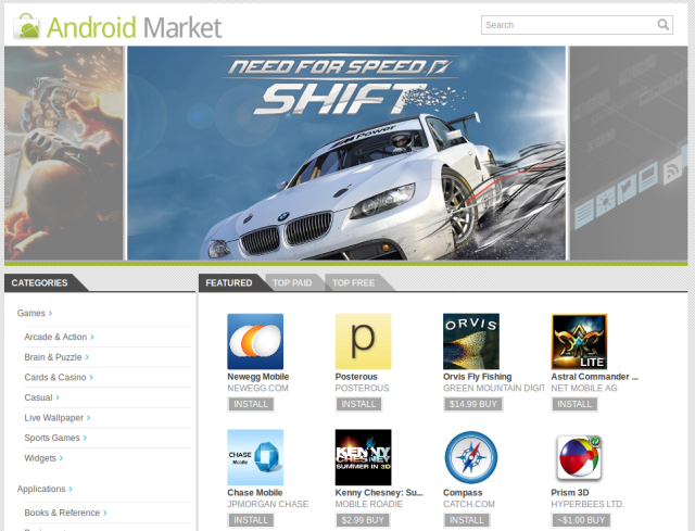 The Android Market's selection of featured applications