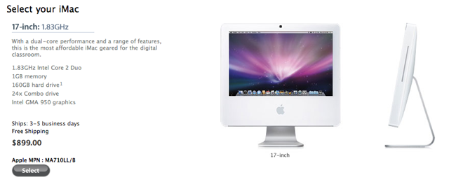 """Old 17"""" iMac stilled offered to educational institutions"""