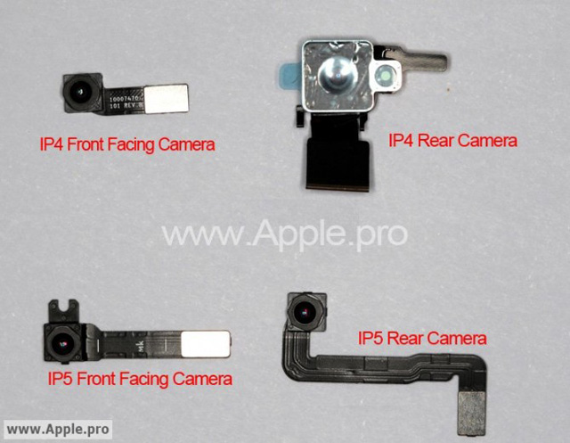 Alleged camera parts for the iPhone 5 compared to those used in the iPhone 4.