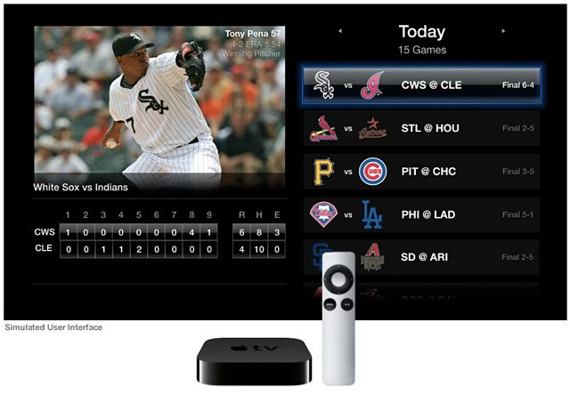 "A ""simulated user interface"" for MLB.tv on Apple TV."