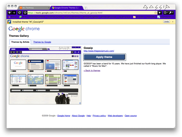 Chrome for Mac skinned with a theme based on the band The Gossip