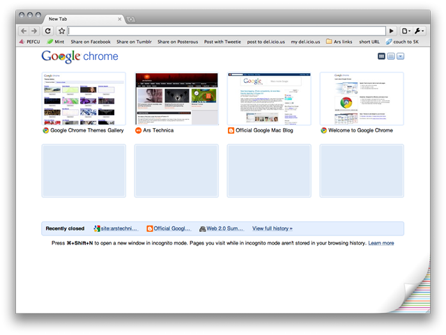 The new tab window in Chrome