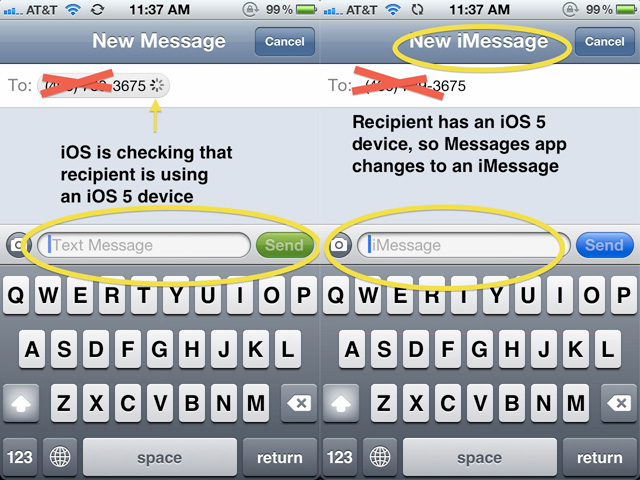 iOS 5's automatic switching from SMS to iMessage protocols.