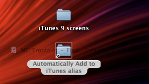 dragging an mp3 to an alias of the Add to iTunes folder