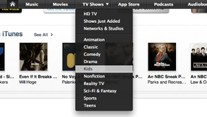iTunes Store drop down nav menus