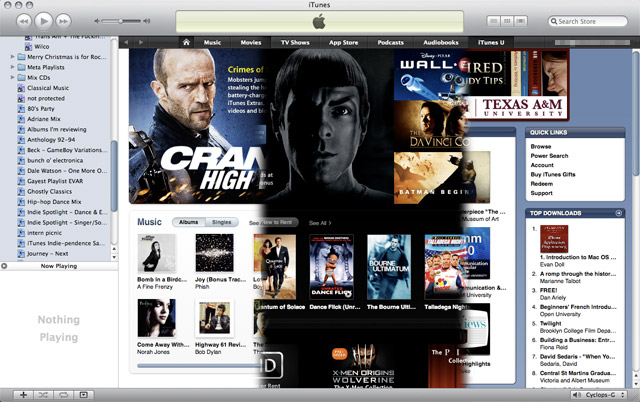 iTunes Store sections