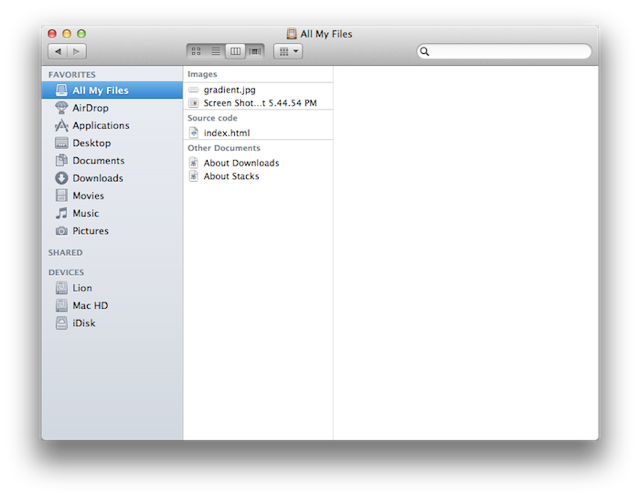 The new Finder can automatically group files by type in list and icon view.