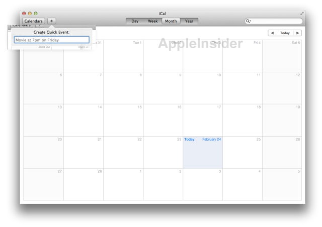 "iCal seems to benefit the most from its iPad-esque overhaul, including a new ""quick event"" feature."