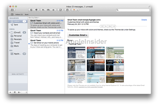 Mail 5 has an iPad-inspired interface with a collapsable mailbox list on the left.