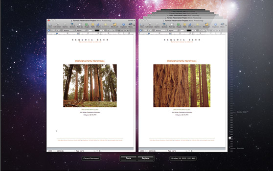 "Lion's ""Versions"" feature allows graphically scrolling back through automatically saved versions of a document."