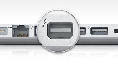 The Thunderbolt port included on Apple's latest MacBook Pros.