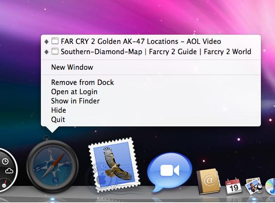 A Dock item's context menu