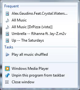 Windows Media Player jump list