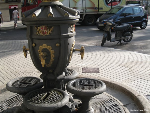 My favorite public drinking fountain, encountered in Barcelona, Spain