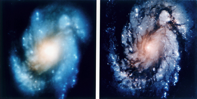 Galaxy Messier 100 as viewed by the HST from before (left) and after (right) the COSTAR correction