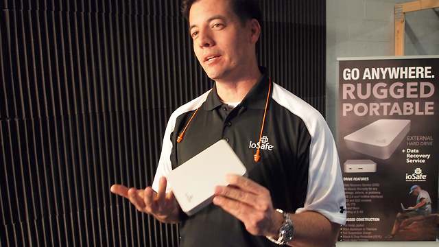 """ioSafe CEO Robb Moore shows off its latest """"disaster proof hardware."""""""