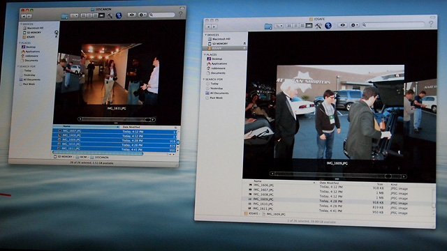 """Moore snapped the images on the way to the """"demo-lition."""" Here you can see the image folder on his MacBook on the left, and on the ioSafe drive on the right."""