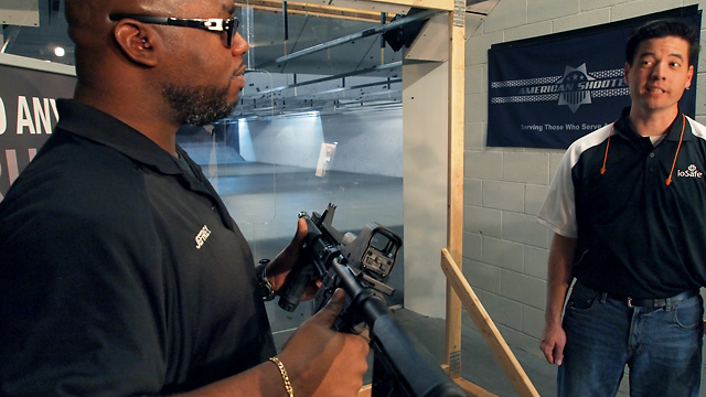 Jeffrey from American Shooters gives a lesson in machine gun safety.
