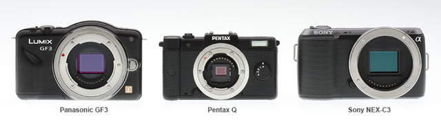 Here the size of the Pentax Q is compared to some other popular mirrorless interchangeable lens cameras.