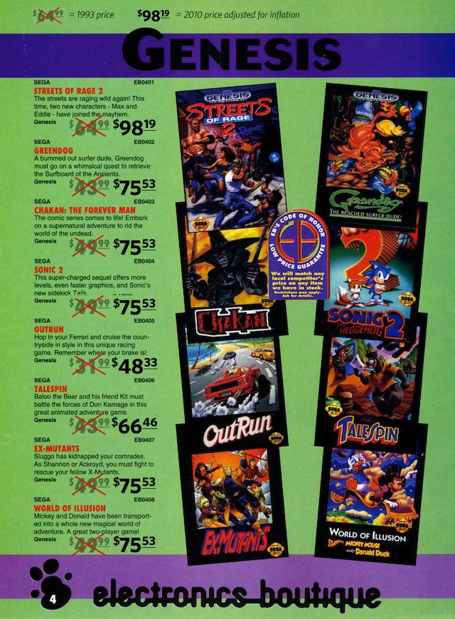 """Electronics Boutique was more expensive than some retailers of the time, but even if other stores discounted, these prices are high. <a href=""""http://www.huguesjohnson.com/scans/ebspring93/"""">Source for original image</a>."""
