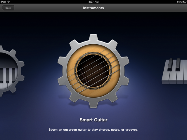 "GarageBand offers an array of virtual ""touch"" instruments that can be played on the iPad's touchscreen."