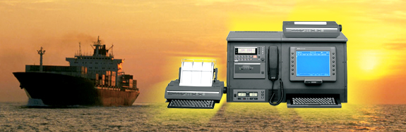 Northrop Grumman compact 4000 GMDSS console with integrated SSB, DSC, and telex.