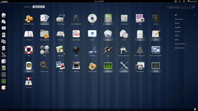A view of the shell application launcher