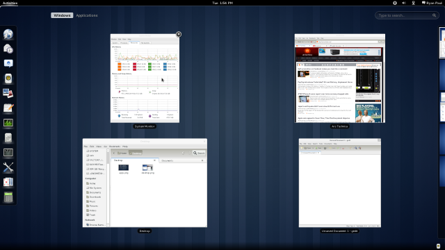 Selecting a window in GNOME 3.0