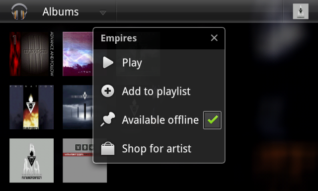 Toggling an album's offline availability