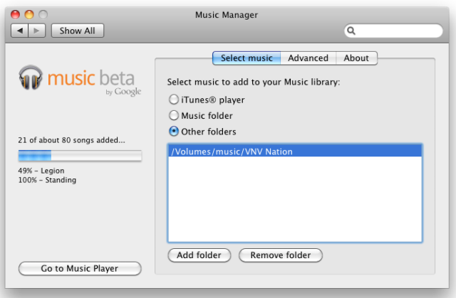The Google Music panel in the System Settings application